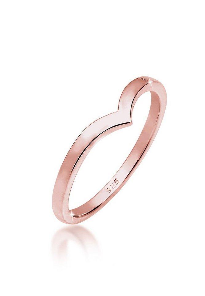 Elli Ring »V Geo Stacking 925 Silber rosé vergoldet« in Rosegold