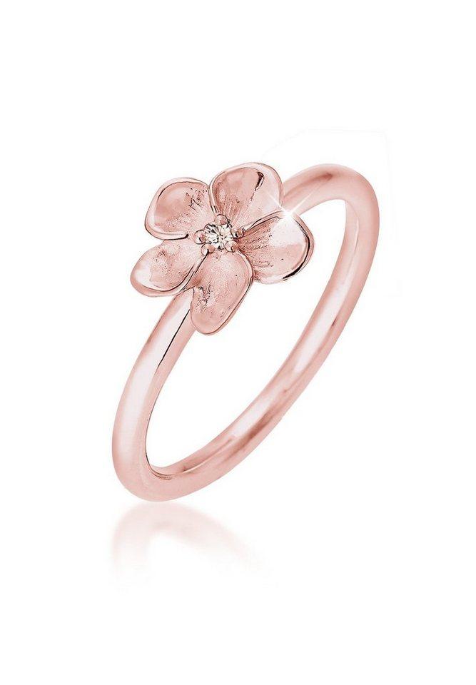 Elli Ring »Frangipani Swarovski® Kristalle 925 rosé vergoldet« in Rosegold