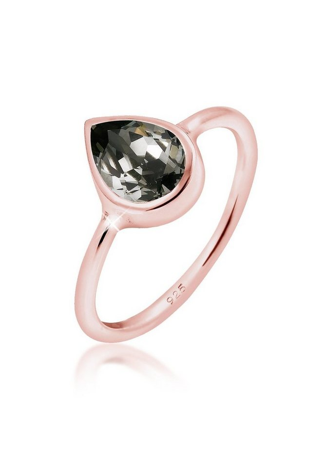 Elli Ring »Tropfen Swarovski® Kristalle Silber rosé-vergoldet« in Rosegold