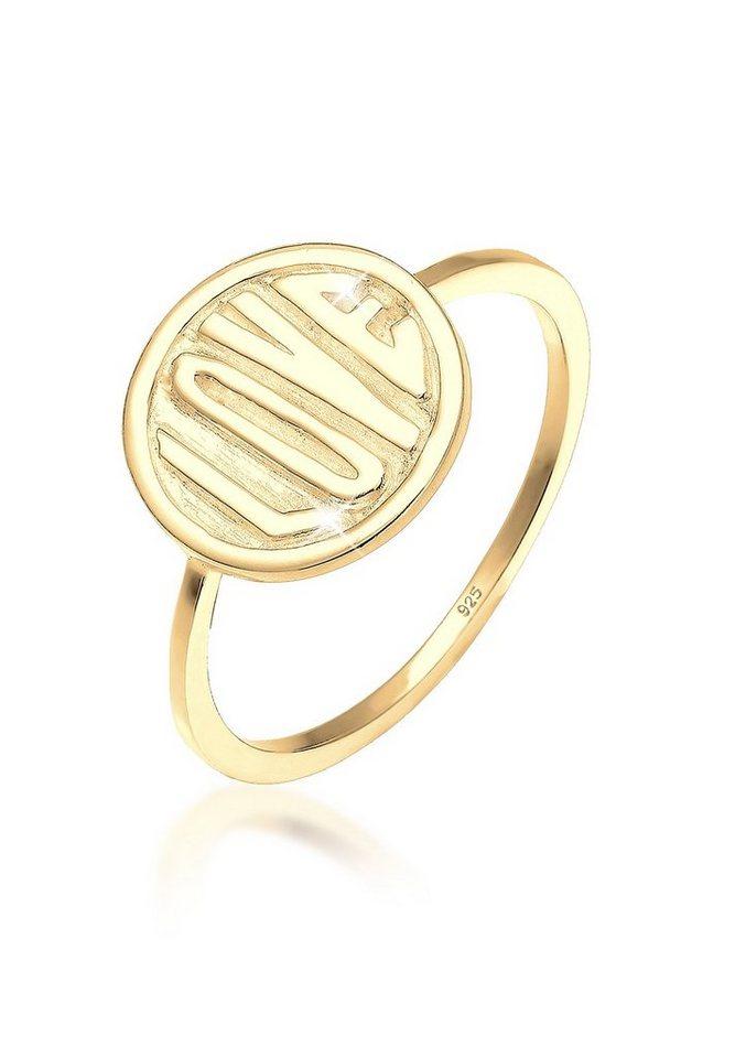 Elli Ring »Love-Schriftzug Statement 925 Silber vergoldet« in Gold