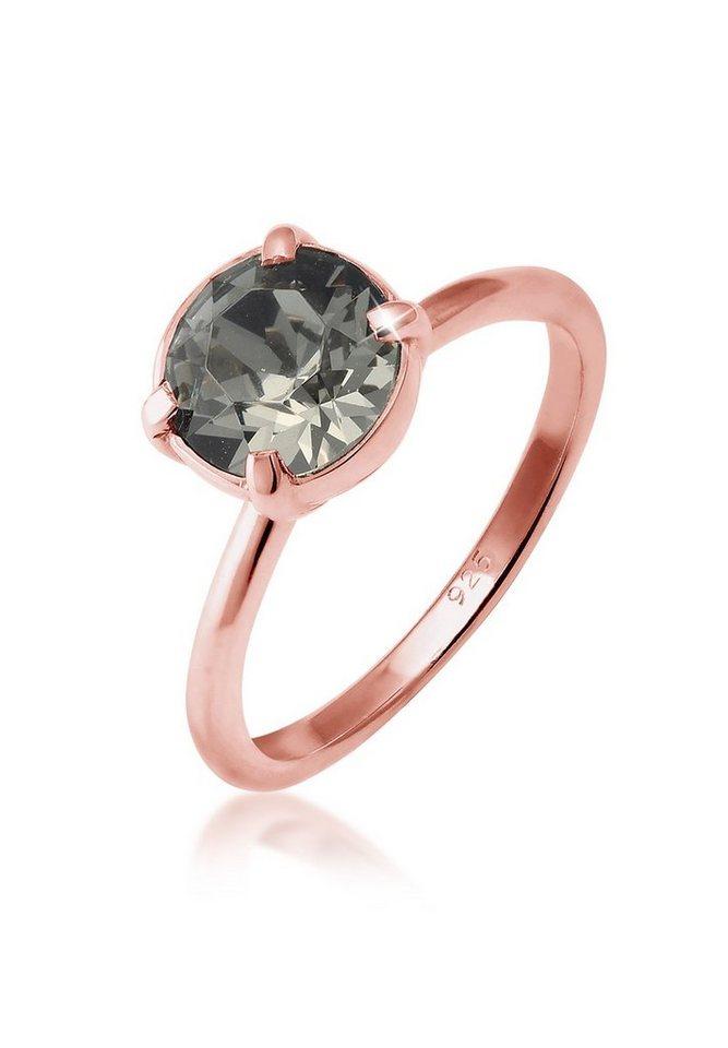 Elli Ring »Solitär Swarovski® Kristalle Silber rosé vergoldet« in Grau