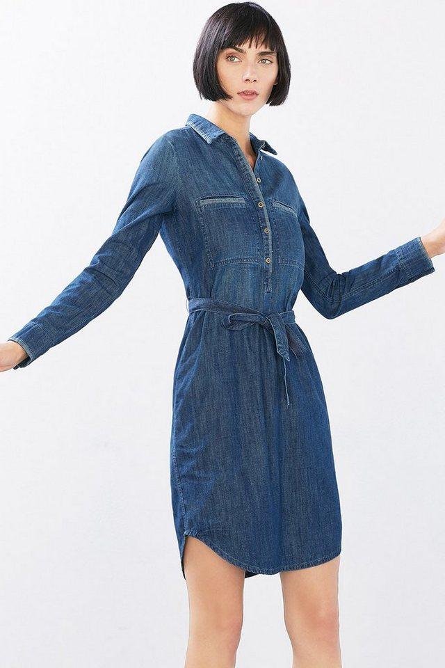 EDC Denim-Hemdblusenkleid, 100% BW in BLUE MEDIUM WASHED