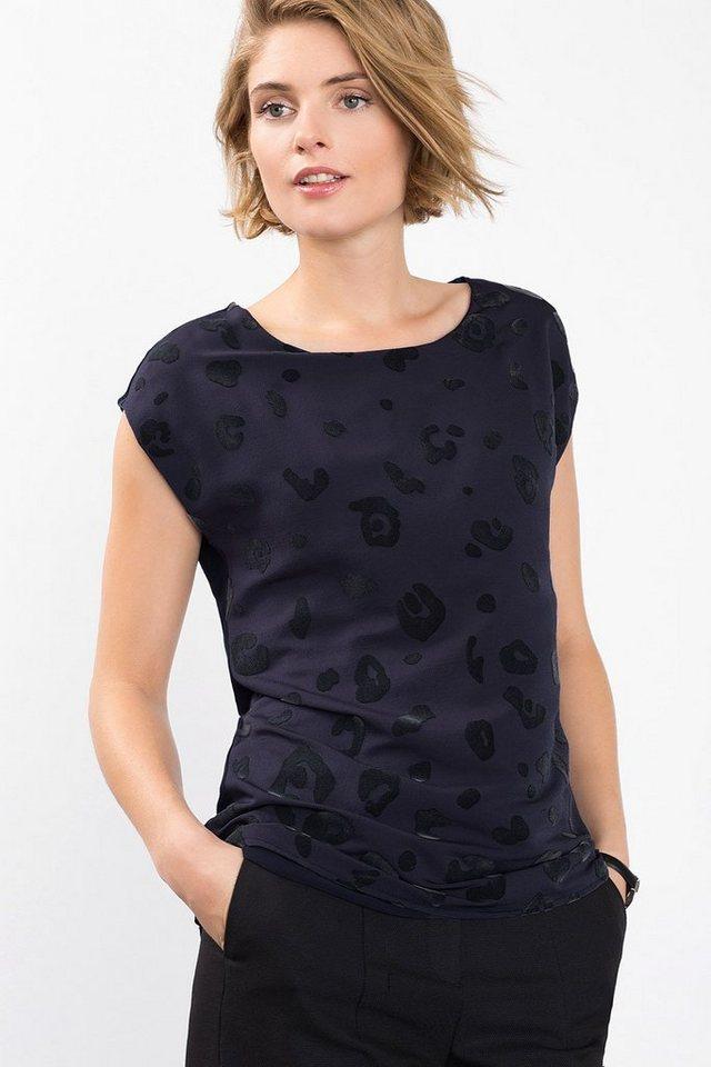 ESPRIT COLLECTION Fließendes Shirt mit Animal-Print in NAVY