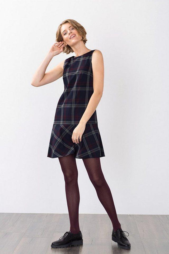 ESPRIT CASUAL Kariertes Etui-Kleid mit Volantrock in NAVY
