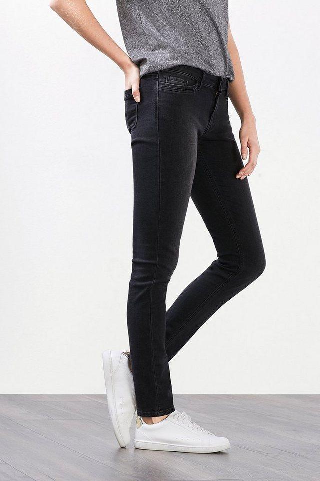 EDC Stretch-Jeans mit Shaping-Effekt in BLACK DARK WASHED
