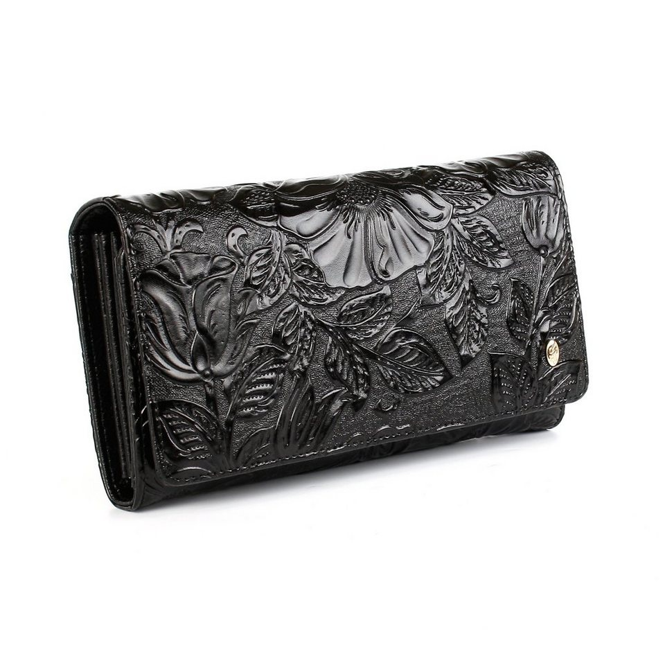 Anthoni Crown Ledergeldbörse mit Blumenprägung in Schwarz