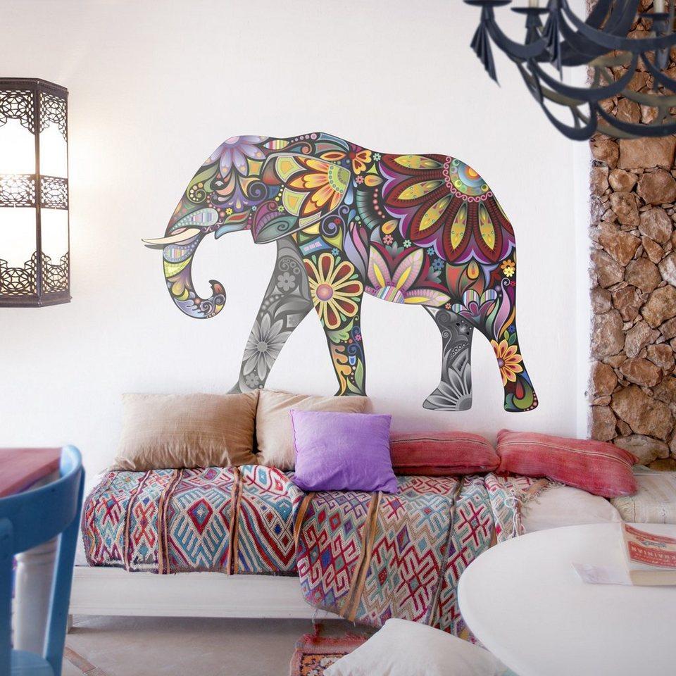 Bilderwelten Wandtattoo »No.651 Elefantenmuster« in Farbig