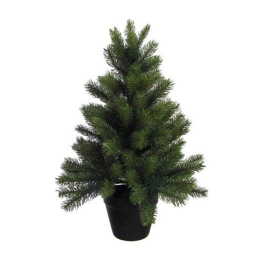 Creativ deco Künstlicher Weihnachtsbaum, mit schwarzem Kunststoff-Topf