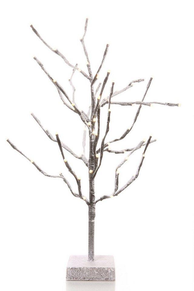 LED Baum in braun, weiß beschneit