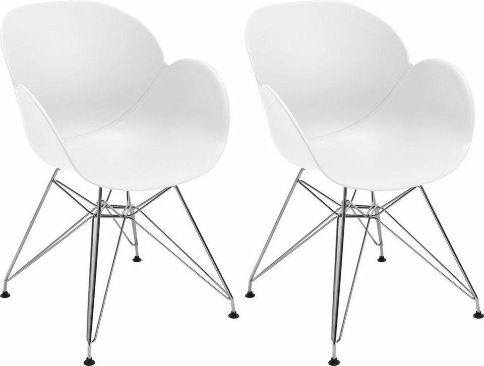 NIEHOFF SITZMÖBEL Schalenstuhl »SUSHI« 2er-Set, mit Trapezgestell in weiß