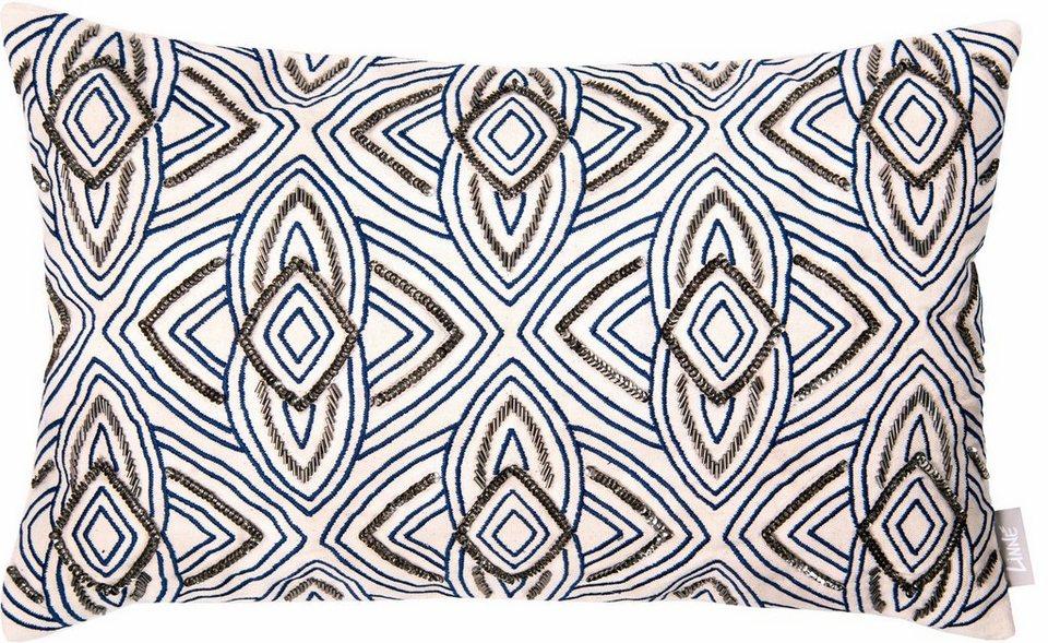 Kissenhüllen, Linne, »Luxury« (1 Stück) in blau/silber