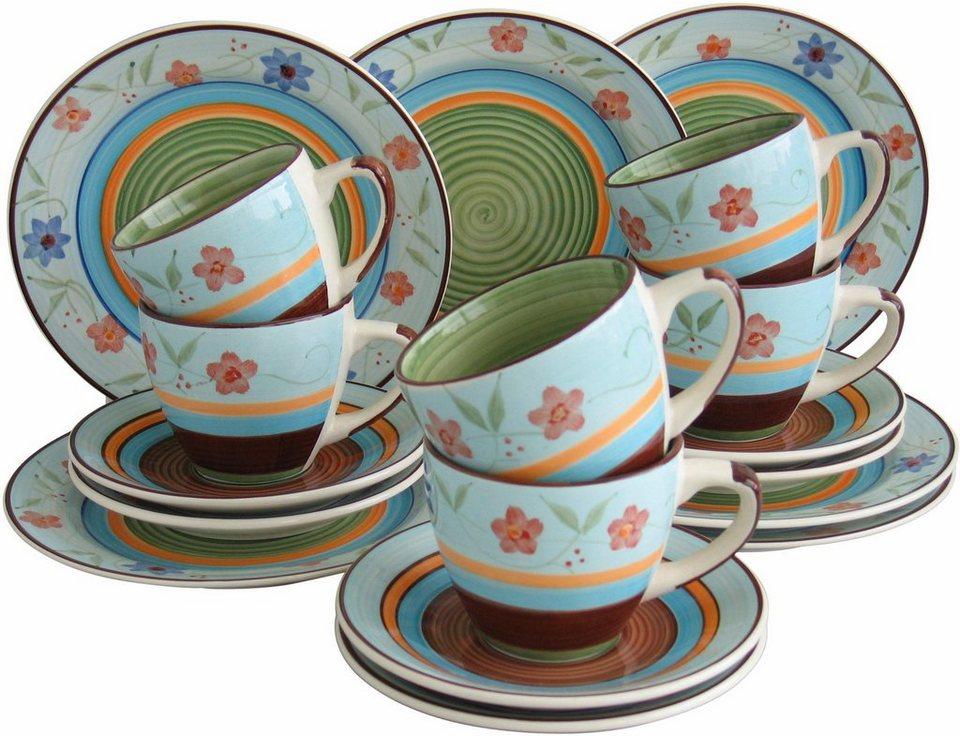 Creatable Steingut Kaffeeservice, »Flower Serenade« (18-tlg.) in blau-bunt