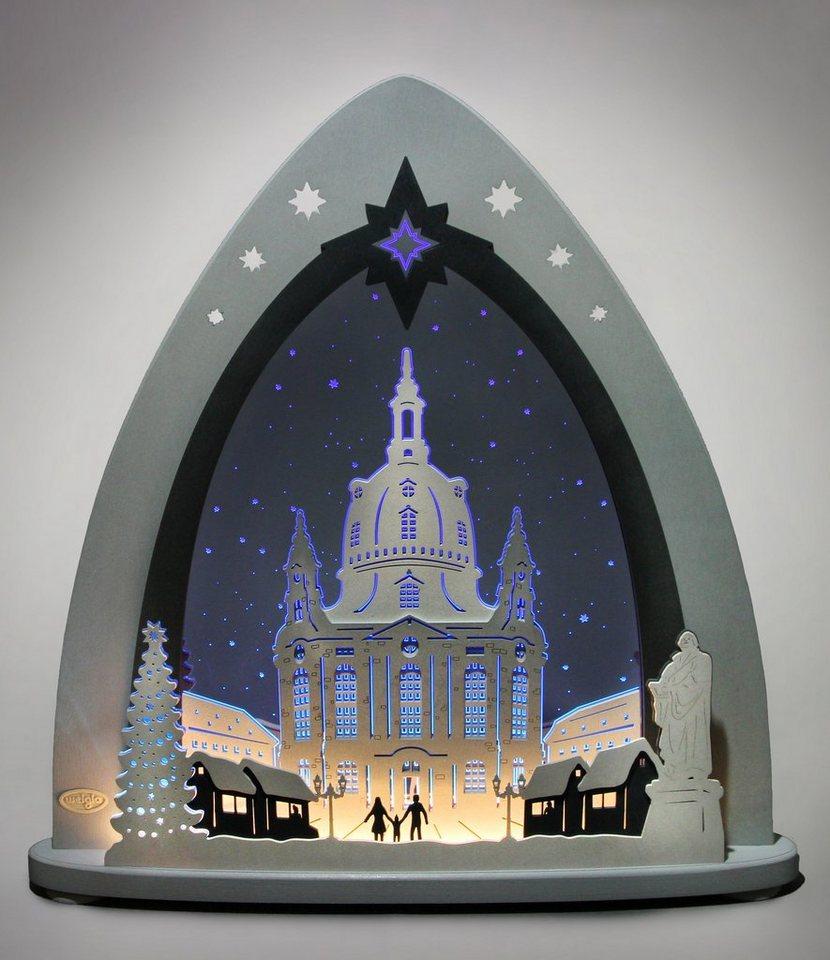Weigla® Lichterspitze, LED, »Dresdner Frauenkirche« in transparent/grau/blau