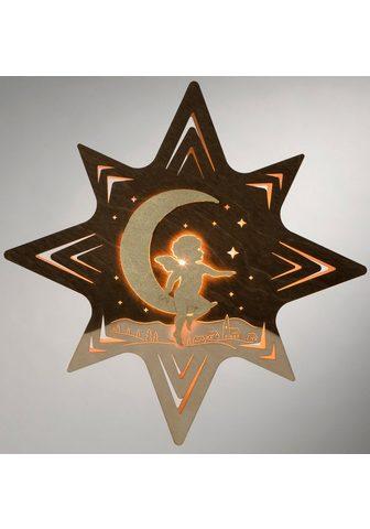 WEIGLA LED Fensterbild»Engel ant Mond«