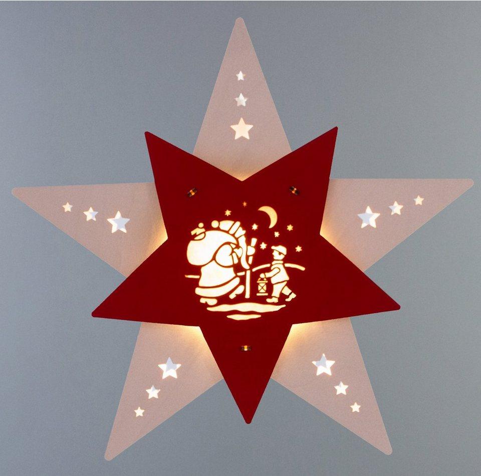 Weigla® Fensterbild, LED, »Knecht Ruprecht« in natur/rot