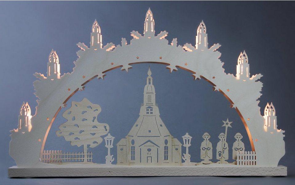 Weigla® Schwibbogen, 7-flammig, »Seiffener Kirche« in natur