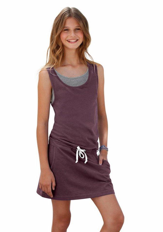 Bench Jerseykleid in Layer-Optik in bordeaux-meliert