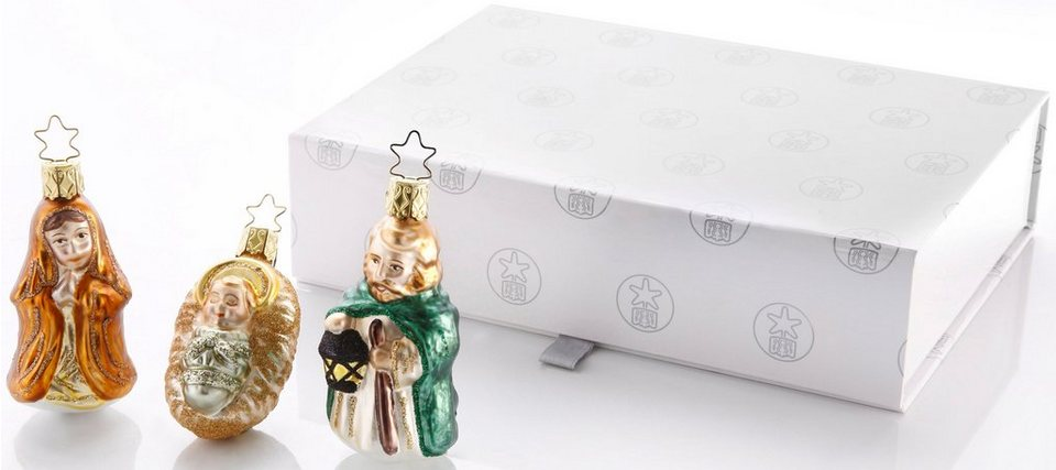 Inge´s Christmas Decor Geschenkset, Made in Germany, 3-teilig, »Heilige Familie« in goldfarben, grün bronze