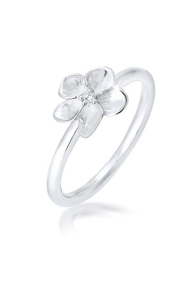 Elli Ring »Frangipani Blüte Zirkonia 925 Silber« in Silber