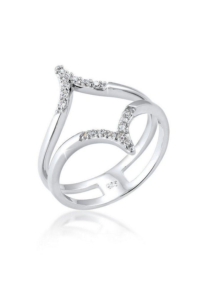 Elli Ring »Zirkonia Wickelring Blogger 925 Silber« in Weiß