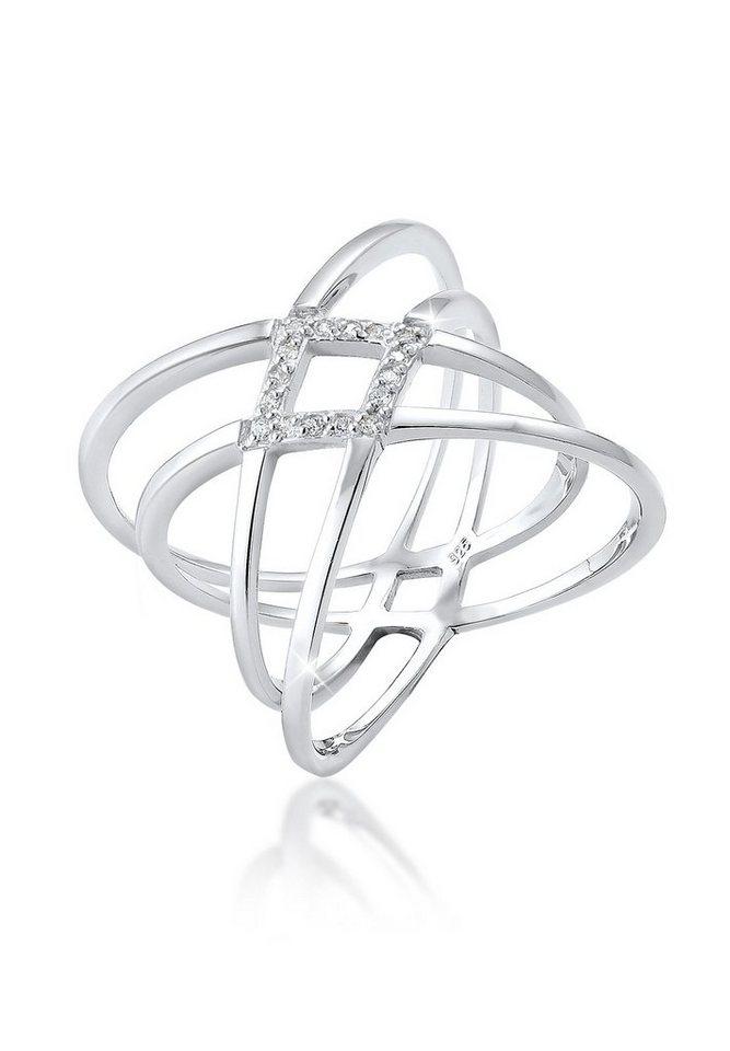 Elli Ring »Zirkonia Wickelring Blogger Silber« in Weiß