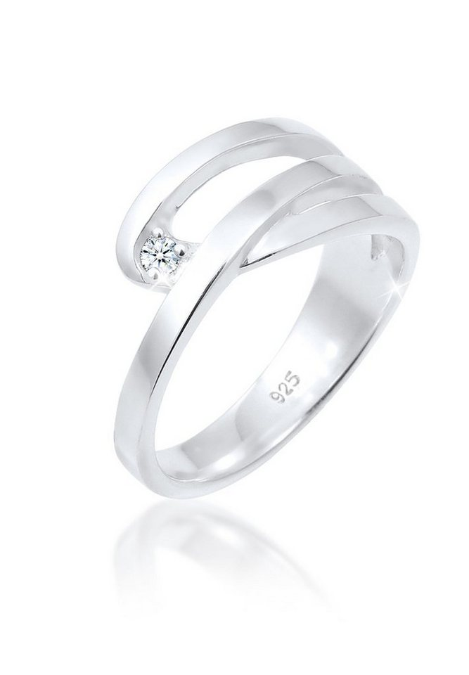 DIAMORE Ring »Klassiker Geschenkidee Diamant 0.03 ct. 925 Silber« in Weiß
