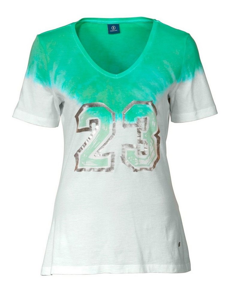 Bogner Jeans Kurzarm-Shirt in Weiß/Mint