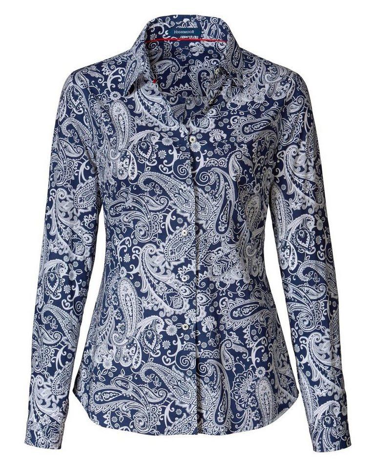 Highmoor Paisleybluse in Blau/Weiß