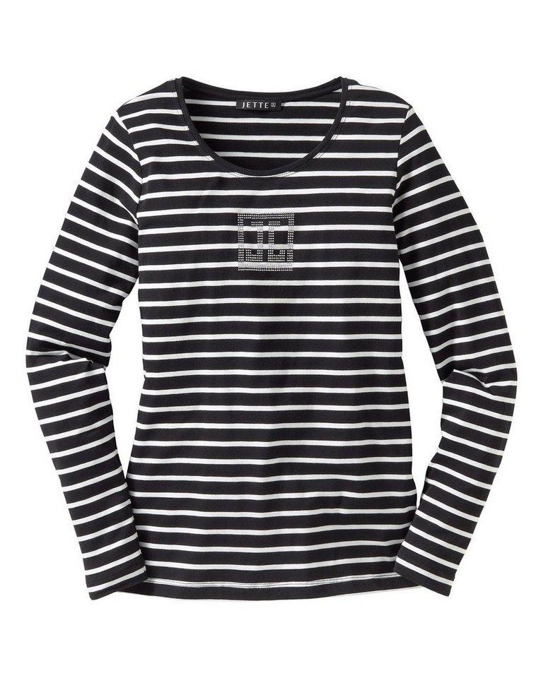 JETTE Streifenshirt in Schwarz/Weiß