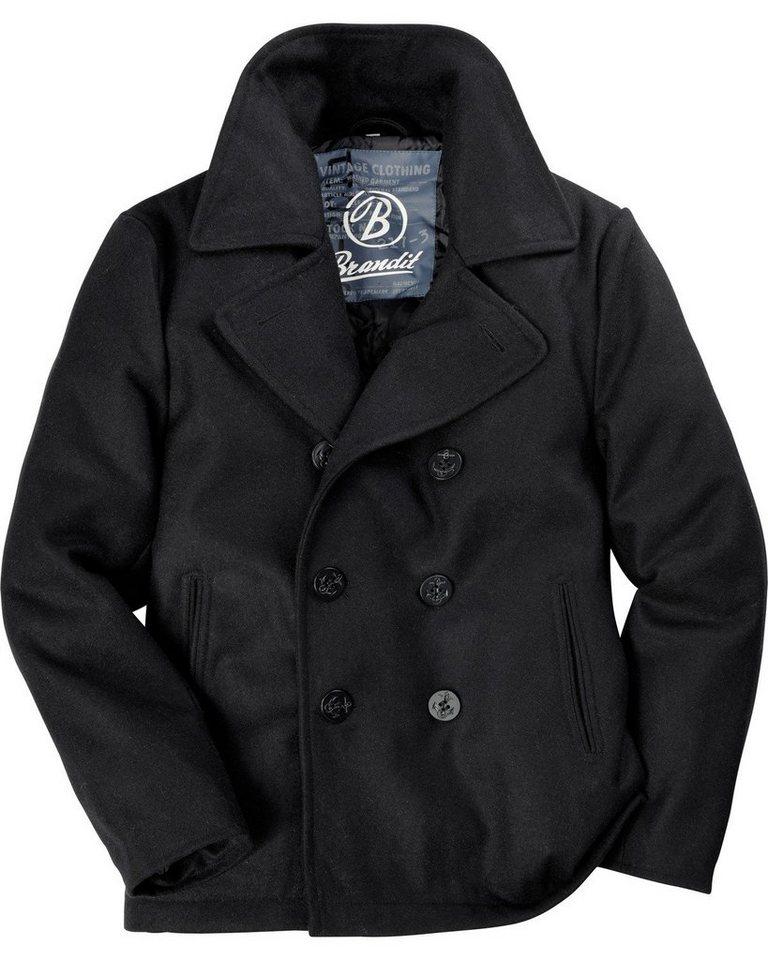 Brandit Jacke Pea Coat in Schwarz