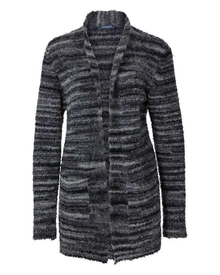 Highmoor Bouclestrickjacke in Anthrazit/Grau