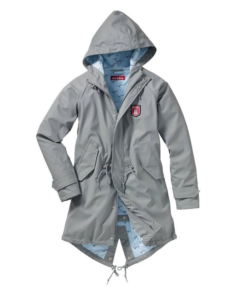 Derbe Regenjacke Travel Friese Seagull in Grau/Bleu