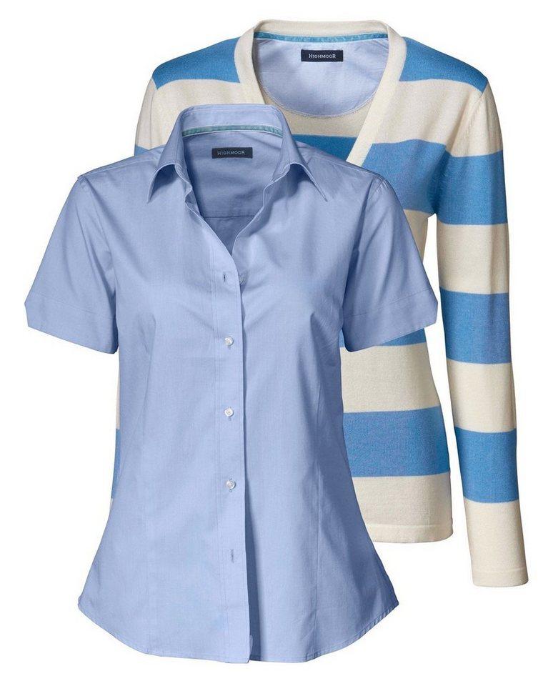 Highmoor Set Cardigan und Bluse in Bleu/Ecru