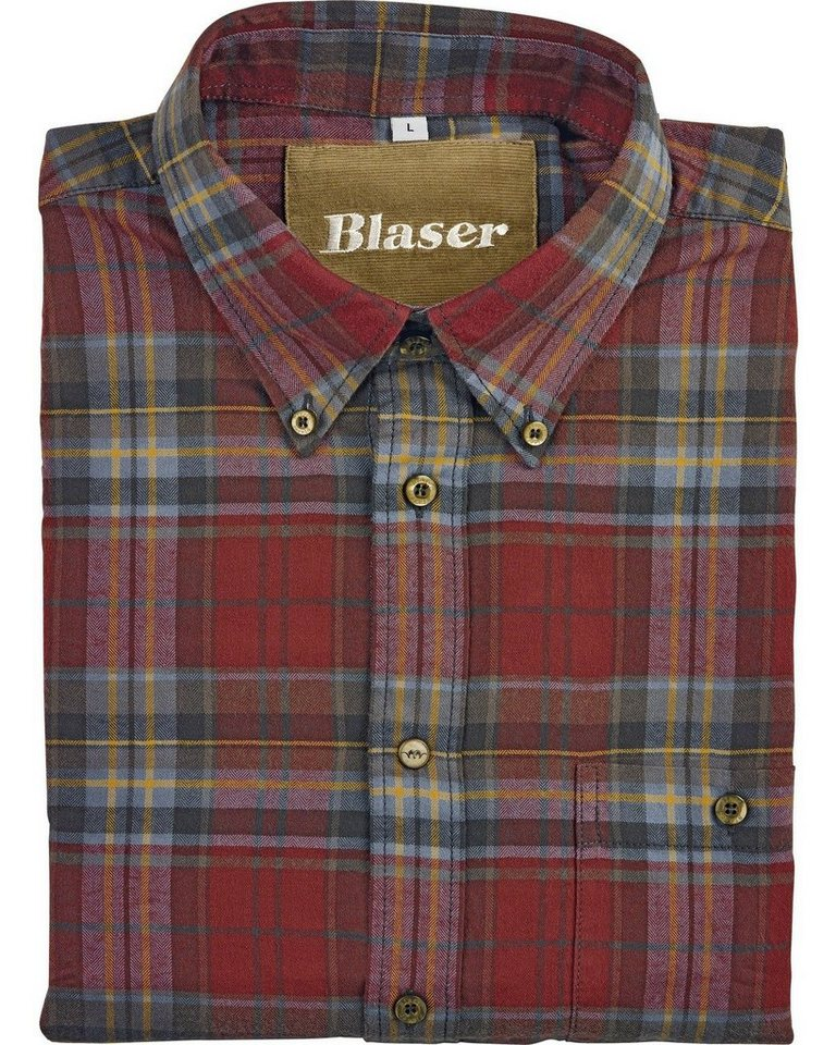 Blaser Flanellhemd Max in rot-grau