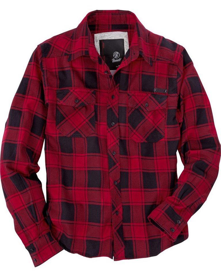 Brandit Hemd Check Shirt in Rot/Schwarz