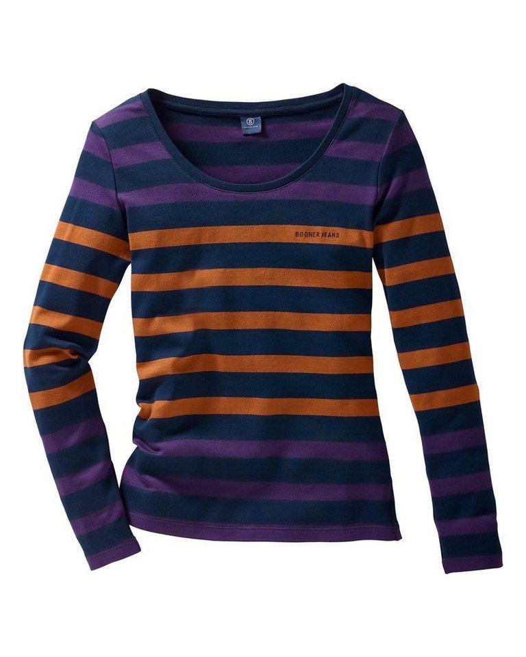 Bogner Jeans Blockstreifenshirt in Marine/Lila/Terracot