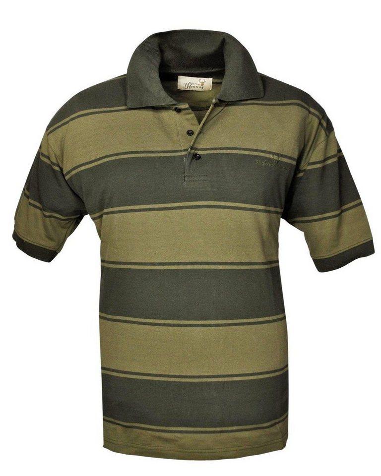 Hubertus Polo Shirt Streifen in Oliv