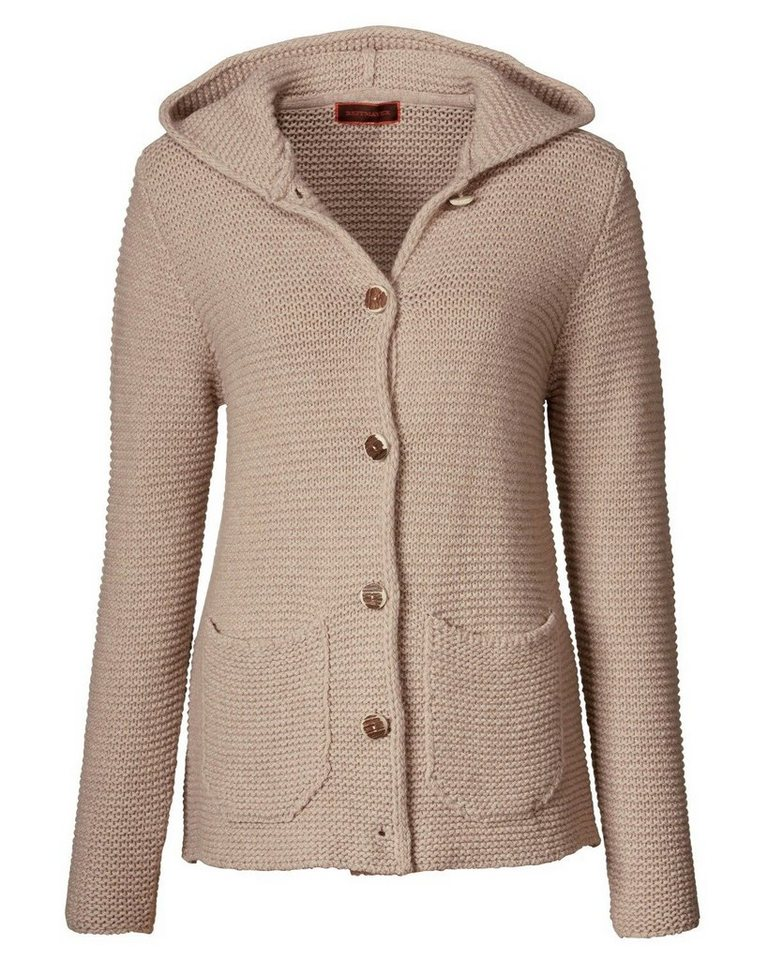 Reitmayer Kapuzen-Strickjacke in Beige-Meliert
