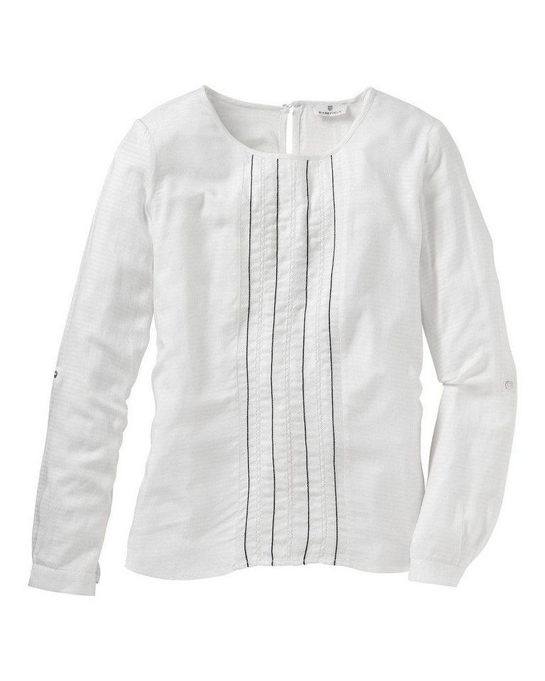 BASEFIELD Blusenshirt in Weiß/Blau