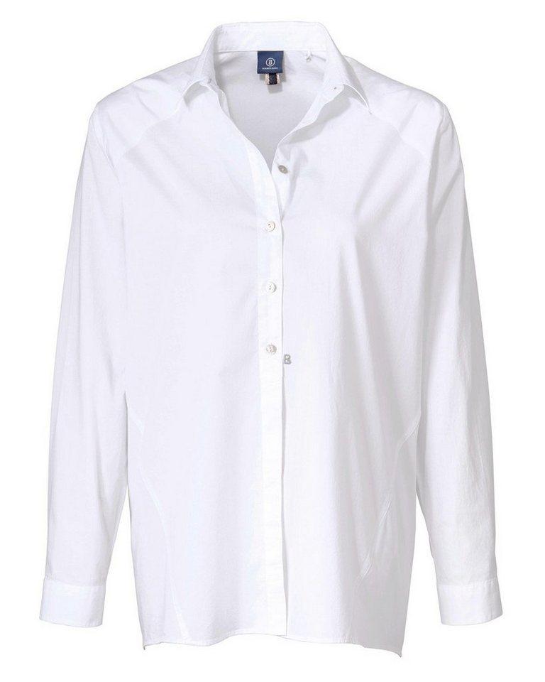 Bogner Jeans Langarm Popelinebluse in Weiß