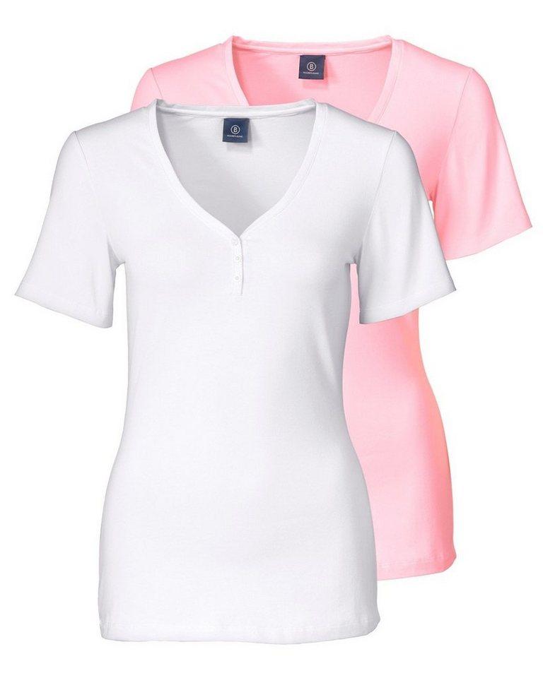 Bogner Jeans Shirt-Doppelpack in Weiß/Rosa