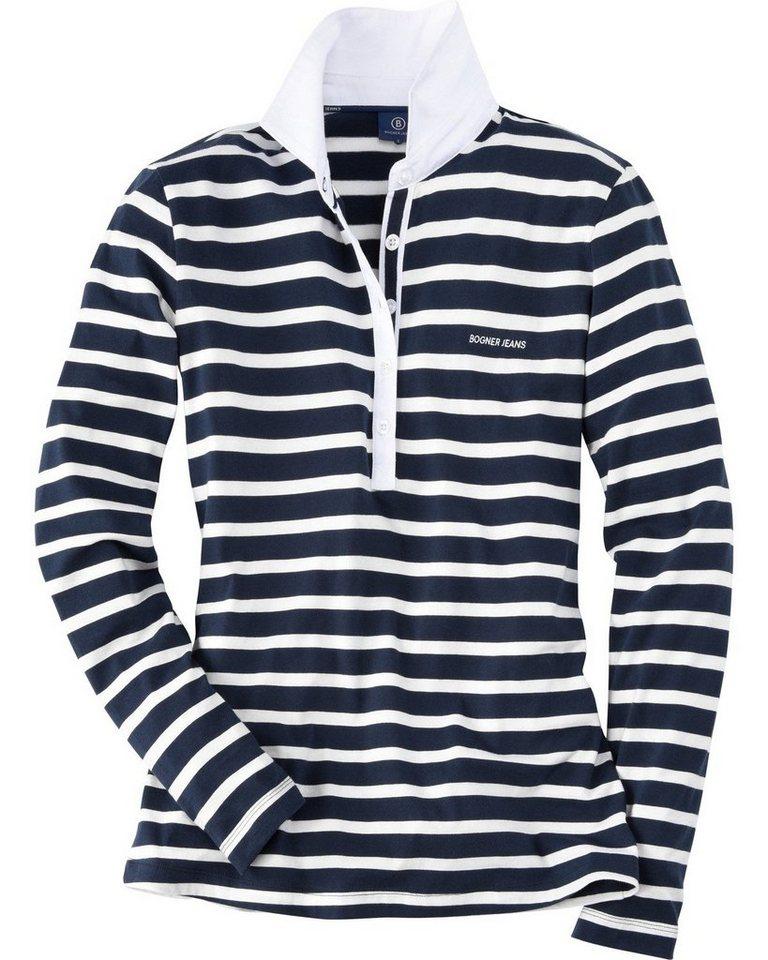 Bogner Jeans Streifenshirt in Weiß/Blau