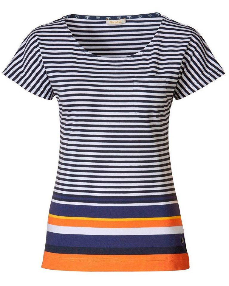 Barbour T-Shirt Harewood Stripe in Blau/Weiß
