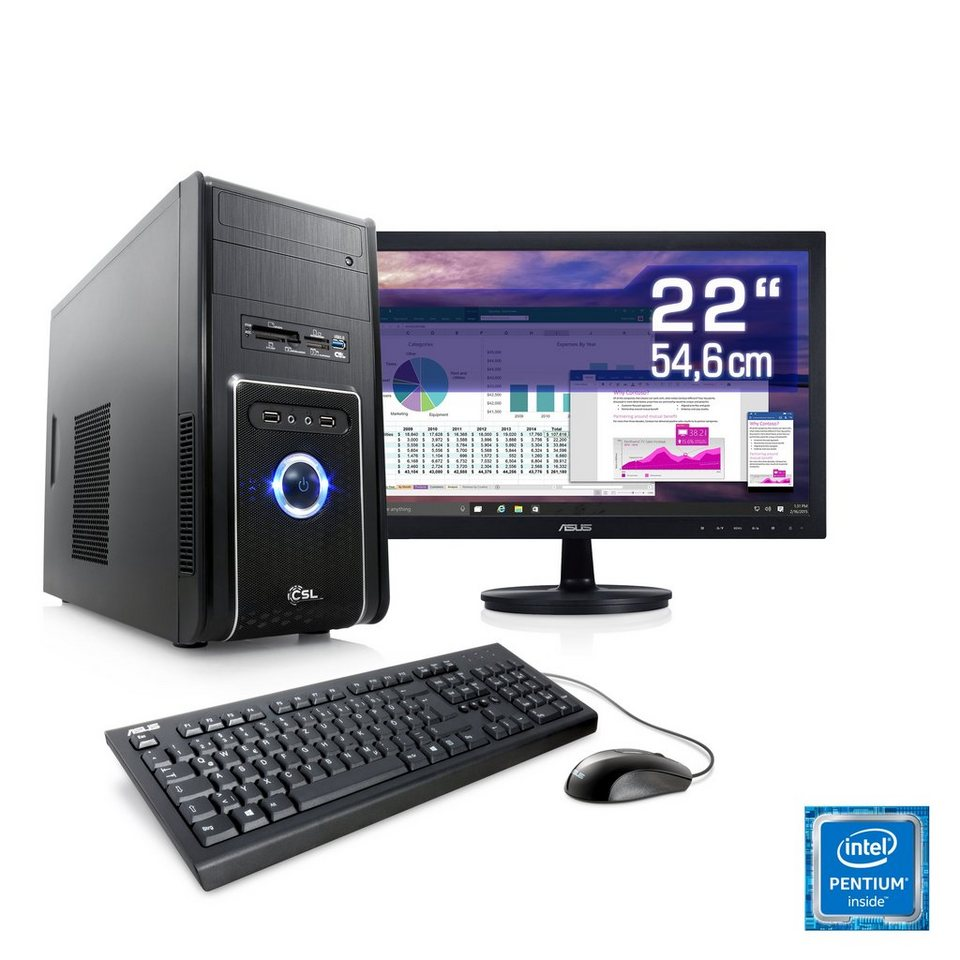 "CSL Multimedia PC Set | G4400 | HD 510 | 8 GB RAM | SSD | 22"" TFT »Speed T1892 Windows 10 Home« in schwarz"