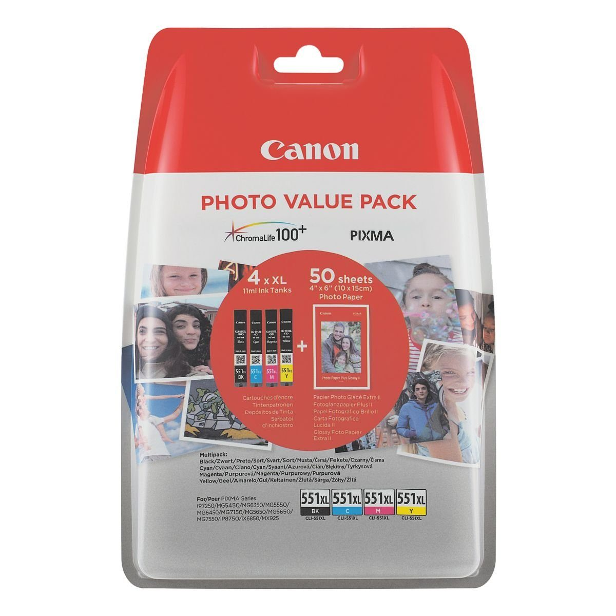 Canon Photo Value Pack: Tintenpatronen-Set + Fotoglanzpapier Plus II »CLI-551 XL BK/C/M/Y«