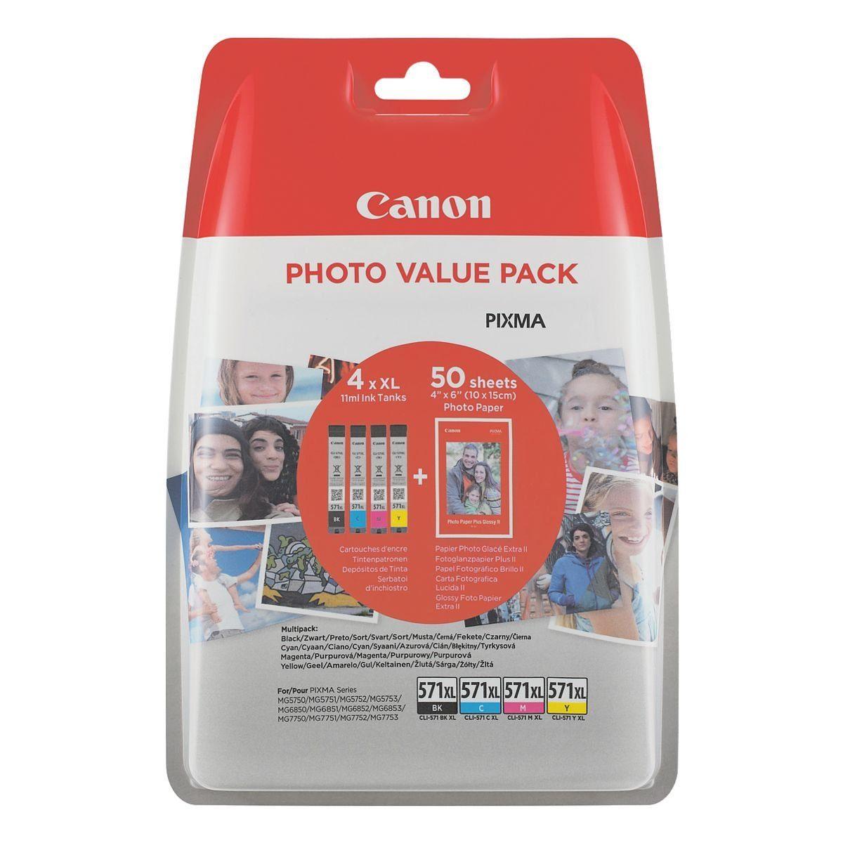 Canon Photo Value Pack: Tintenpatronen-Set + Fotoglanzpapier Plus II »CLI-571 XL BK/C/M/Y«
