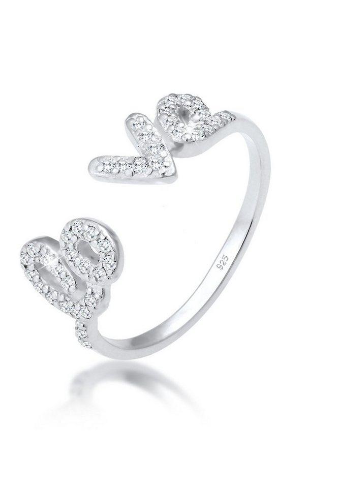 Elli Ring »Love-Schriftzug Zirkonia 925 Sterling Silber« in Weiß