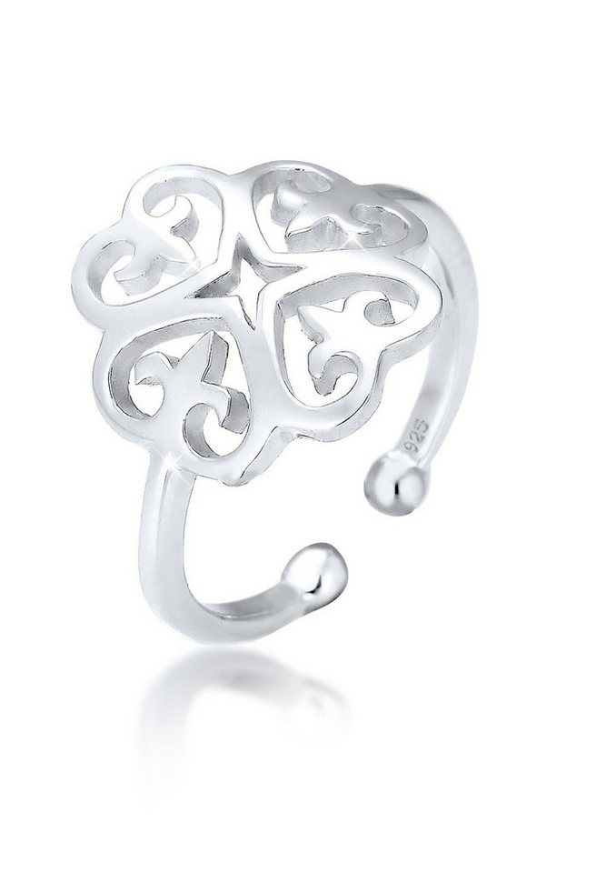 Elli Ring »Ornament Cut-Out Blume 925 Silber« in Silber