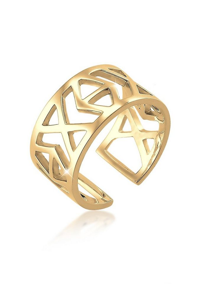 Elli Ring »Ikat-Muster 925 Sterling Silber« in Gold