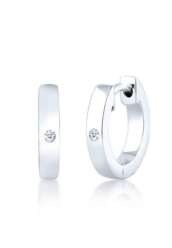 Diamore Ohrringe »Creole Basic Diamant Hochwertig Geschenk Silber« in Weiß